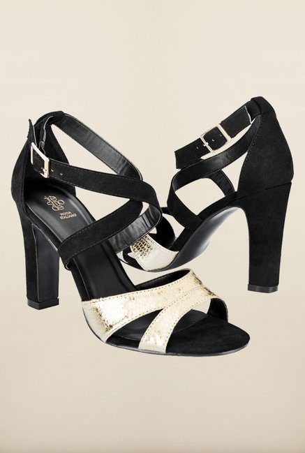 Tresmode Cedancing Gold & Black Cross Strap Sandals