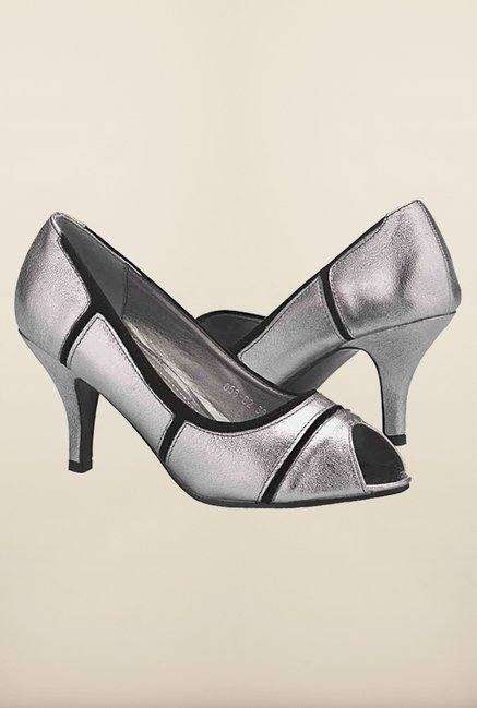 Tresmode Cpatch Silver Slide Shoes