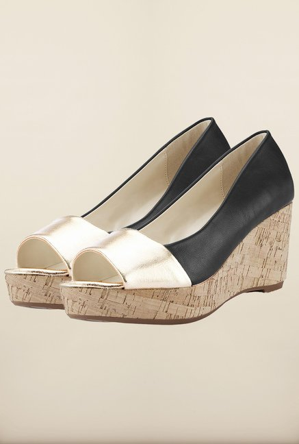 Tresmode Chsteeledge Black & Gold Wedges
