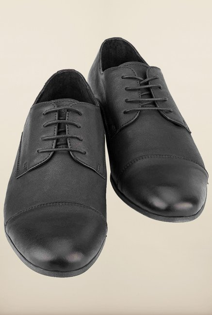Tresmode Hungo Black Derby Shoes