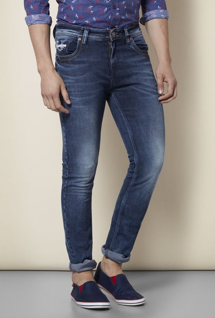 Integriti Blue Heavily Washed Slim Fit Jeans