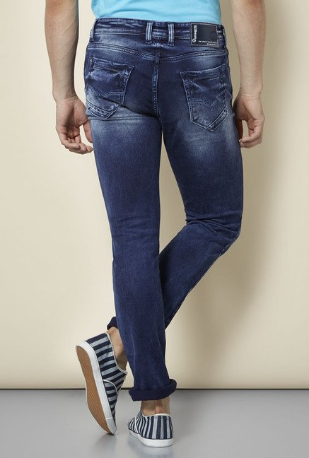 Integriti Blue Solid Lightly Washed Jeans