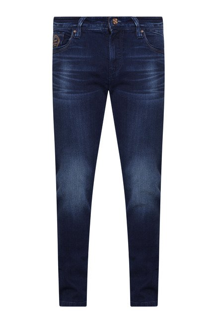 Integriti Indigo Solid Heavily Washed Jeans