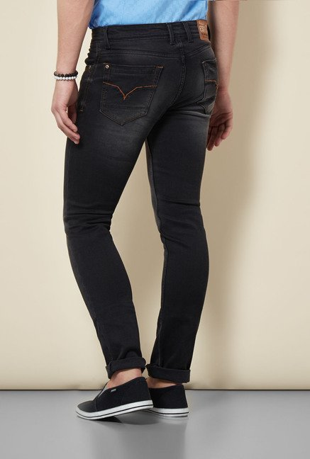 Integriti Black Solid Lightly Washed Jeans