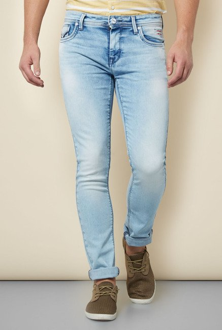 Integriti Blue Cotton Heavily Washed Jeans