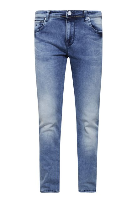 Integriti Blue Solid Heavily Washed Jeans