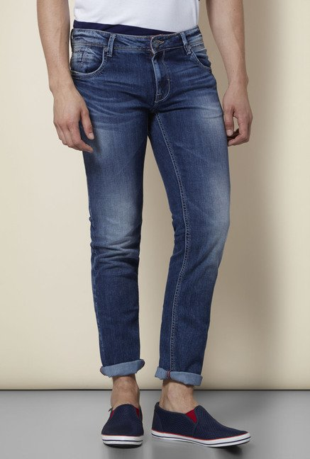 Integriti Blue Solid Skinny Fit Jeans