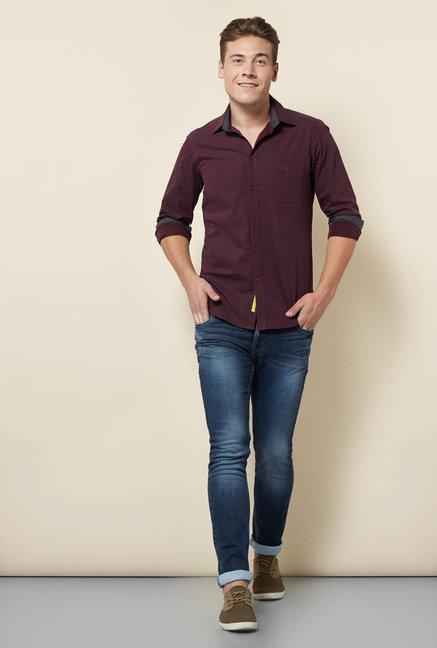 Integriti Navy Cotton Lightly Washed Jeans