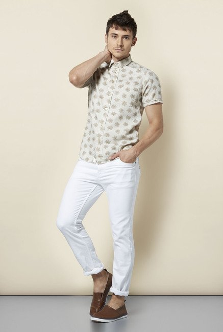 Integriti White Solid Slim Fit Jeans
