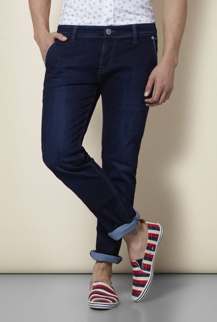 Integriti Navy Solid Skinny Fit Jeans