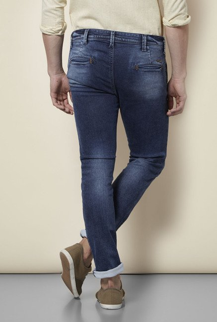 Integriti Blue Solid Cotton Jeans