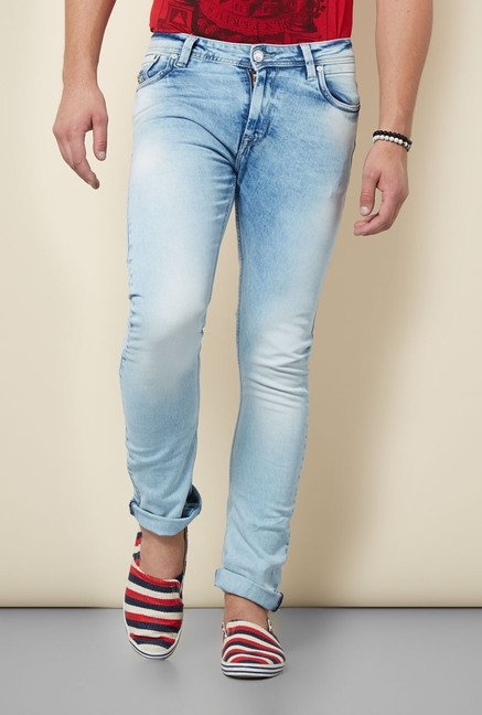 Integriti Ice Blue Solid Heavily Washed Jeans
