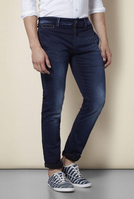 Integriti Navy Solid Cotton Jeans