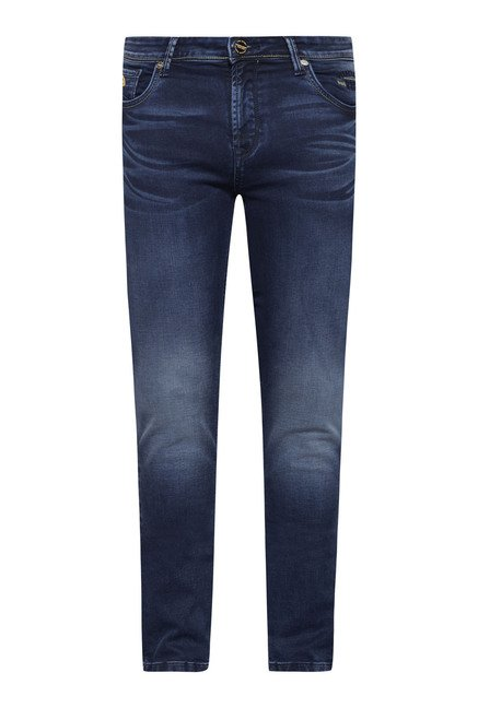 Integriti Dark Blue Solid Lightly Washed Jeans