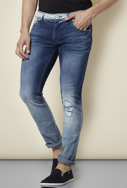 Integriti Blue Tattered Skinny Fit Jeans