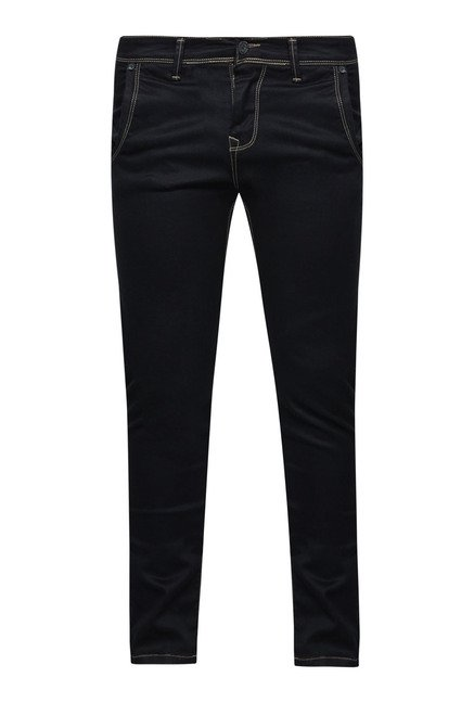 Integriti Black Solid Piping Jeans