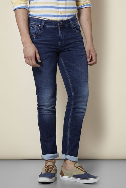 Integriti Dark Blue Cotton Lightly Washed Jeans