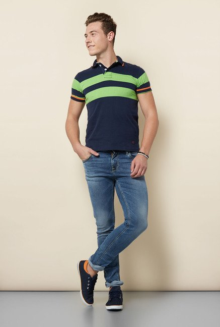 Integriti Navy & Green Striped Polo T Shirt