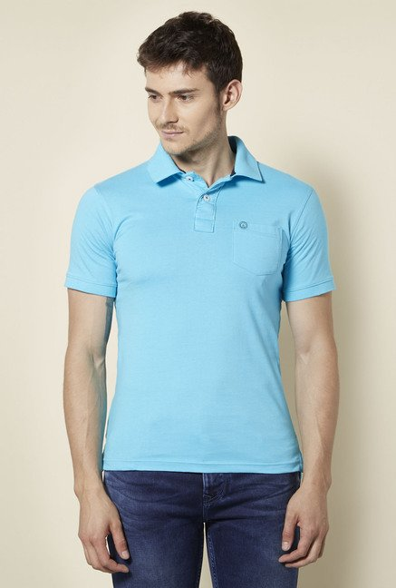 Integriti Turquoise Solid Polo T Shirt