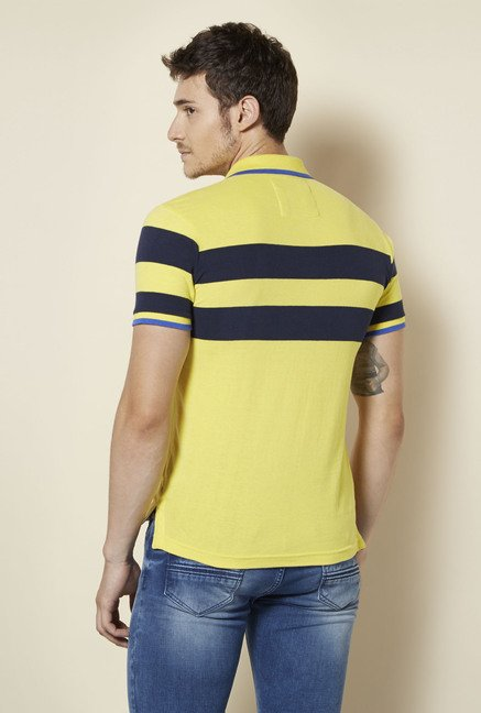 Integriti Yellow Striped Polo T Shirt