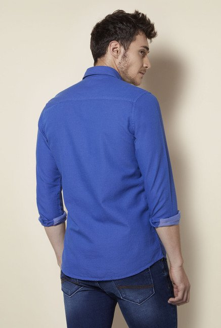 Integriti Royal Blue Solid Cotton Shirt