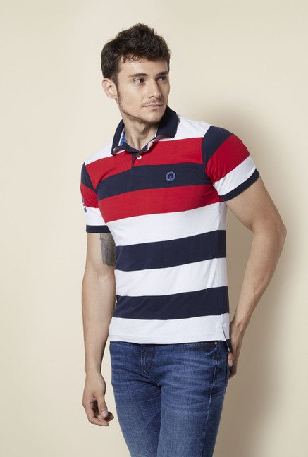 Integriti White Striped Polo T Shirt