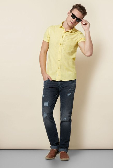 Integriti Yellow Solid Slim Fit Shirt
