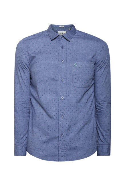 Integriti Navy Polka Dot Printed Shirt