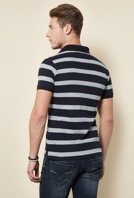 Integriti Black & Grey Striped Polo T Shirt