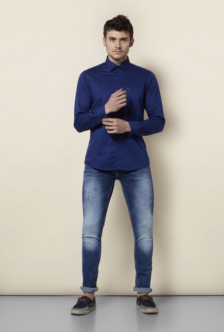 Integriti Blue Cotton Skinny Fit Jeans