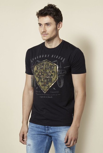 Integriti Black Printed T Shirt