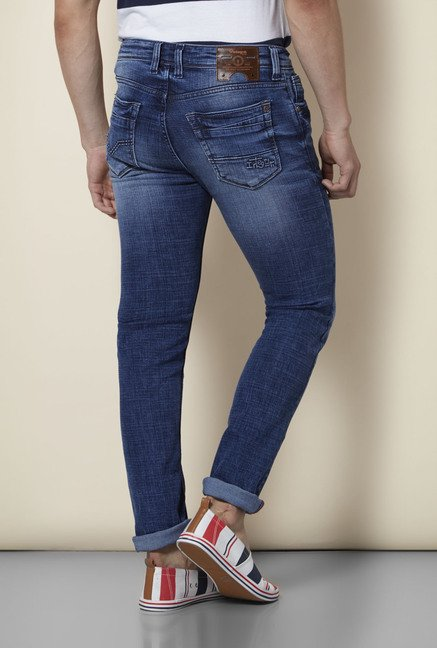 Integriti Dark Blue Solid Slim Fit Jeans