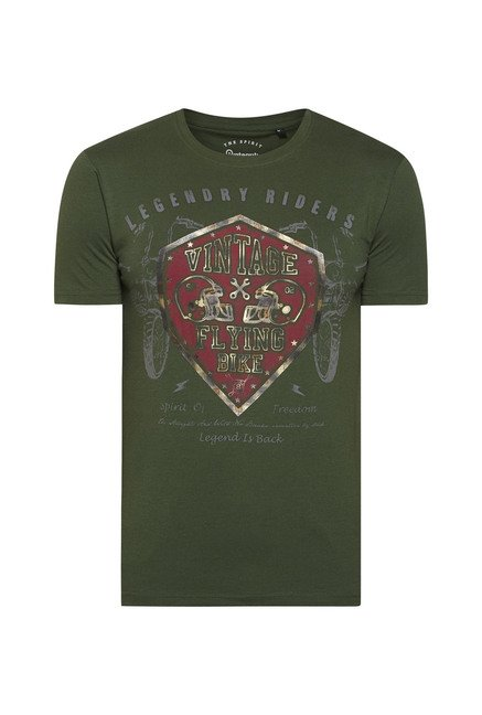 Integriti Green Printed T Shirt