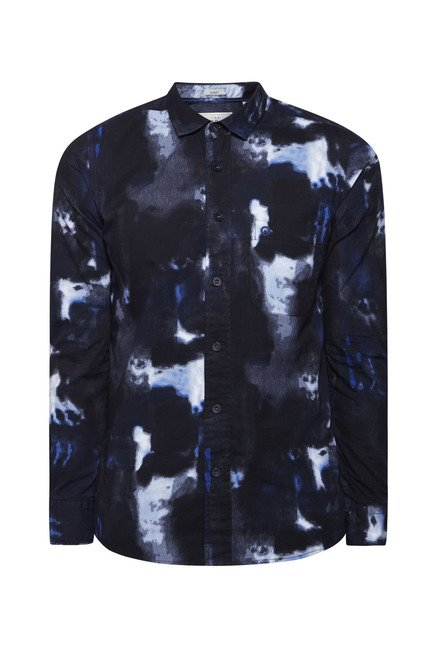 Integriti Black Printed Slim Fit Shirt