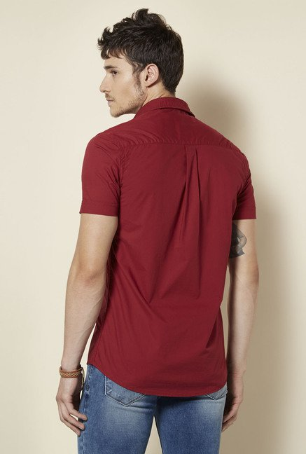 Integriti Maroon Solid Slim Fit Shirt