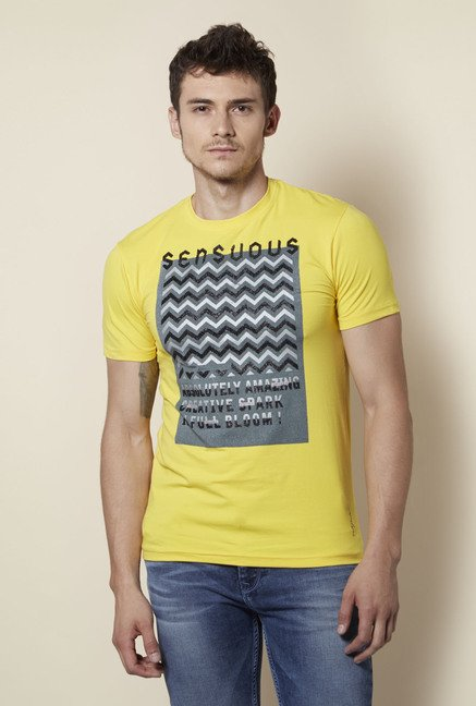Integriti Yellow Printed Crew Neck T Shirt