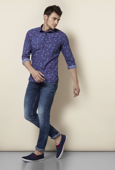 Integriti Blue Printed Cotton Shirt