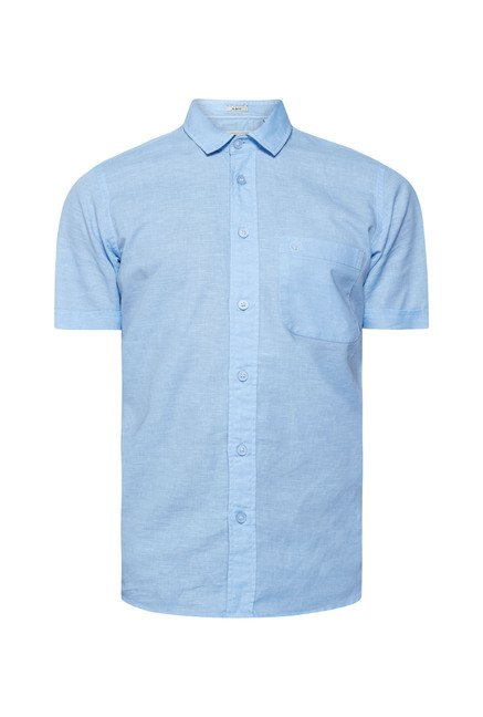 Integriti Sky Blue Solid Shirt