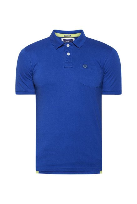 Integriti Blue Solid Polo T Shirt