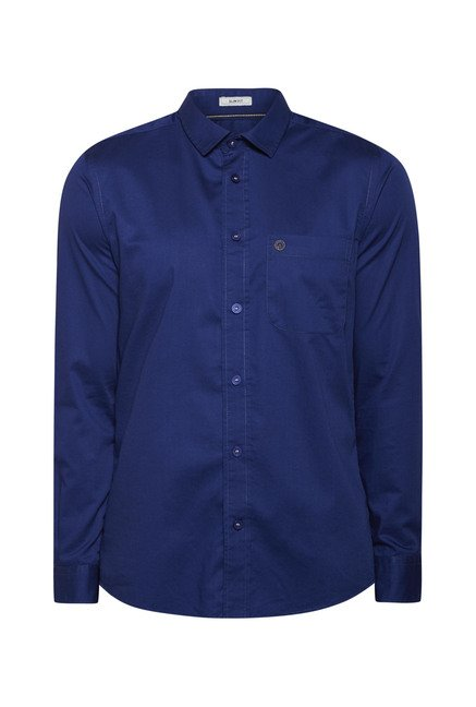 Integriti Navy Solid Slim Fit Shirt