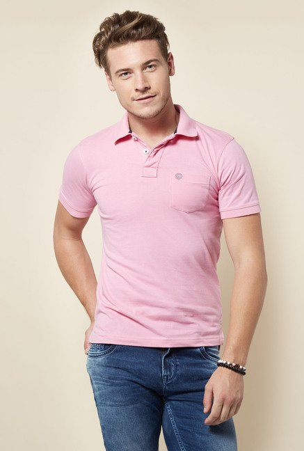 Integriti Pink Solid Polo T Shirt