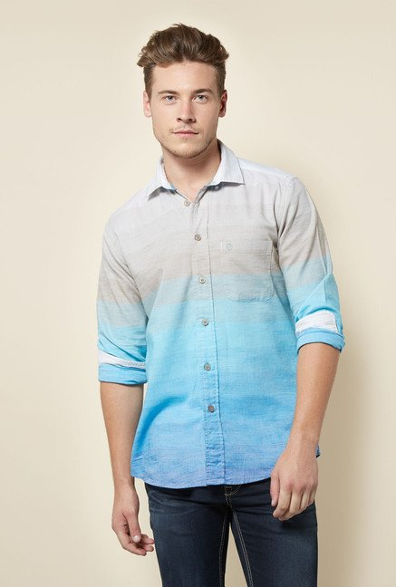 Integriti Aqua & Brown Striped Shirt