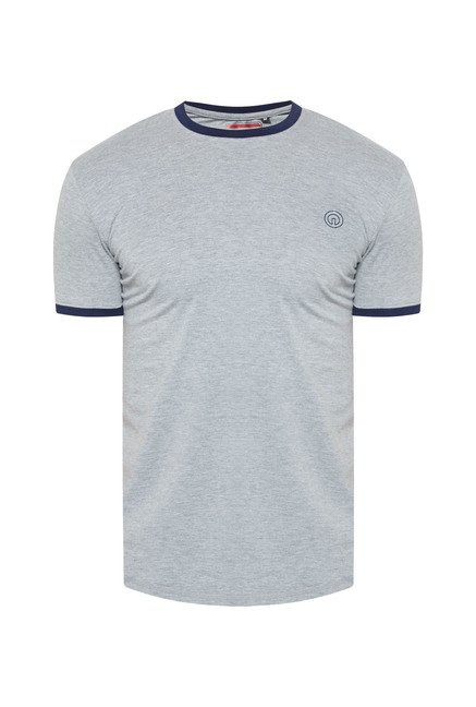 Integriti Grey Solid Cotton T Shirt