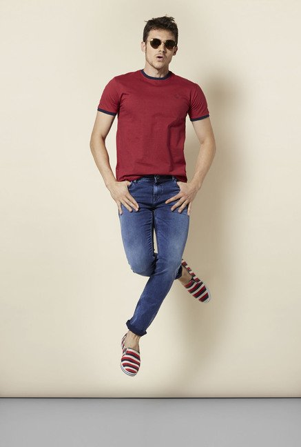 Integriti Maroon Solid T Shirt