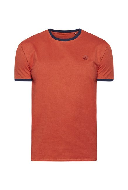 Integriti Orange Solid Crew Neck T Shirt