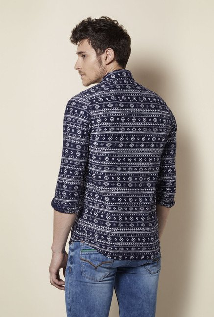 Integriti Navy & White Printed Shirt