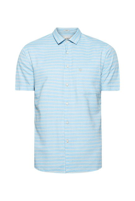 Integriti Turquoise Striped Cotton Shirt