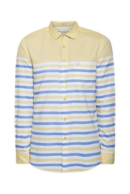 Integriti Yellow & Blue Striped Cotton Shirt