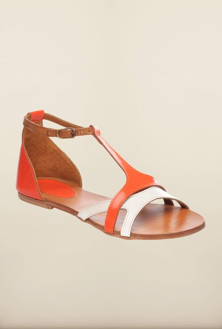 Pavers England Orange Ankle Strap Sandals