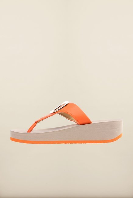 Pavers England Orange Platform Sandals